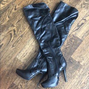 Over the knee black high heel boots